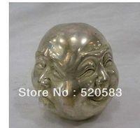 free Chinese Tibet silver bronze Buddha head statue fast