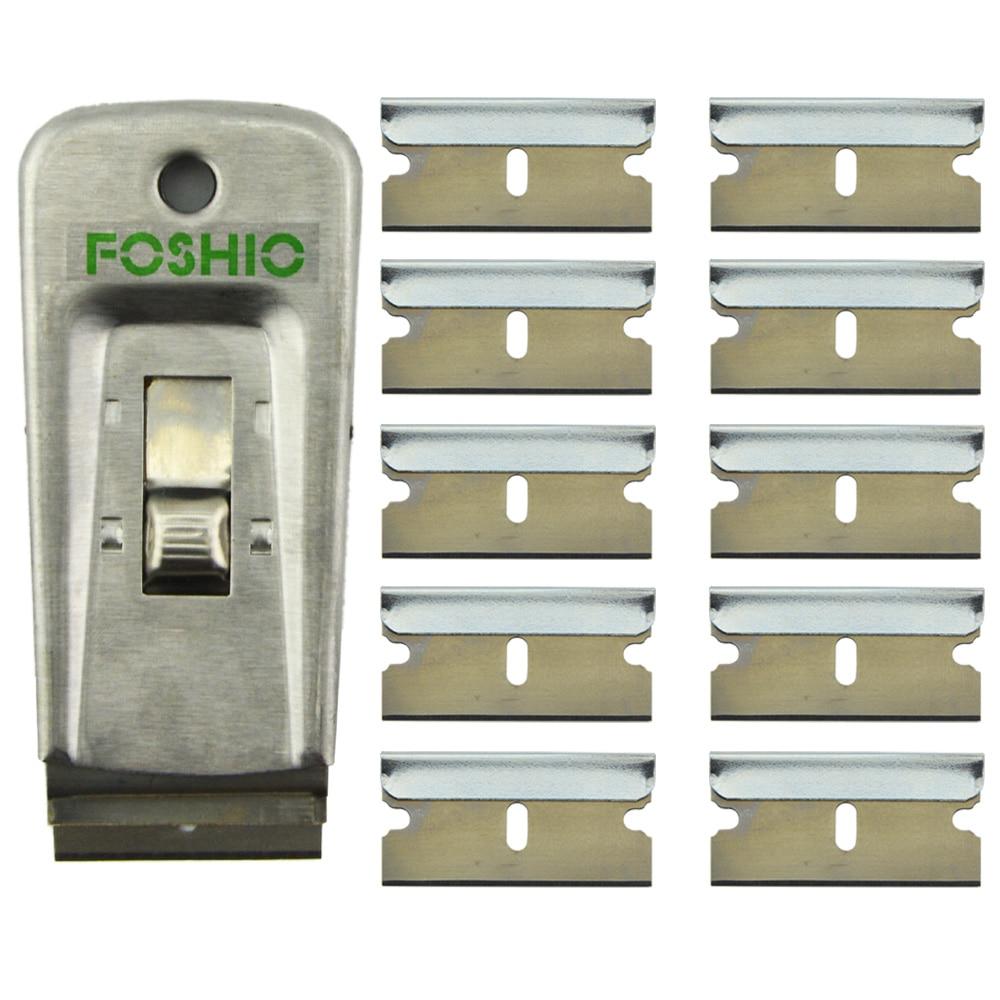 Us 7 99 30 Off Foshio Old Glue Sticker Clean Removing Razor Scraper 10pcs 1 5