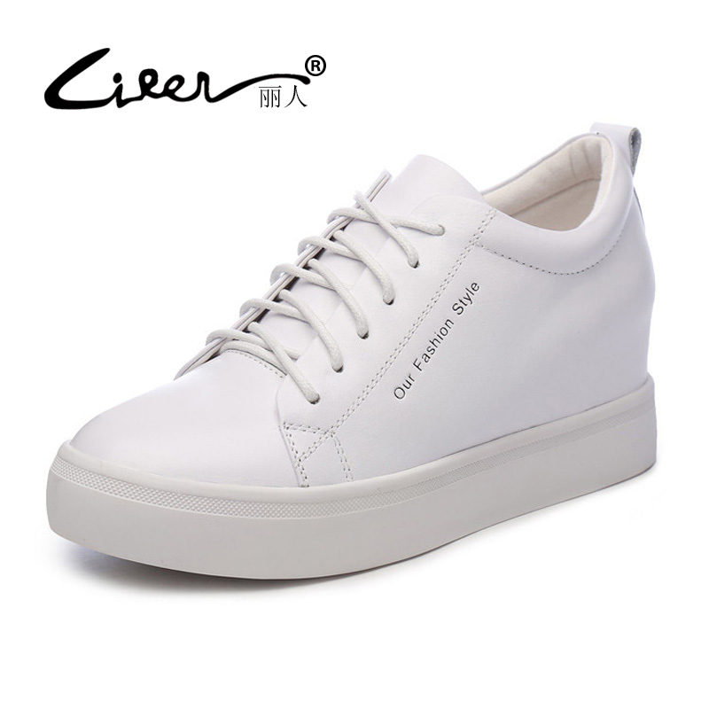LIREN Size 34-39 Flat Shoes 2018 Lace Up Genuine Leather Casual High-quality Fashion Women Shoes White Black