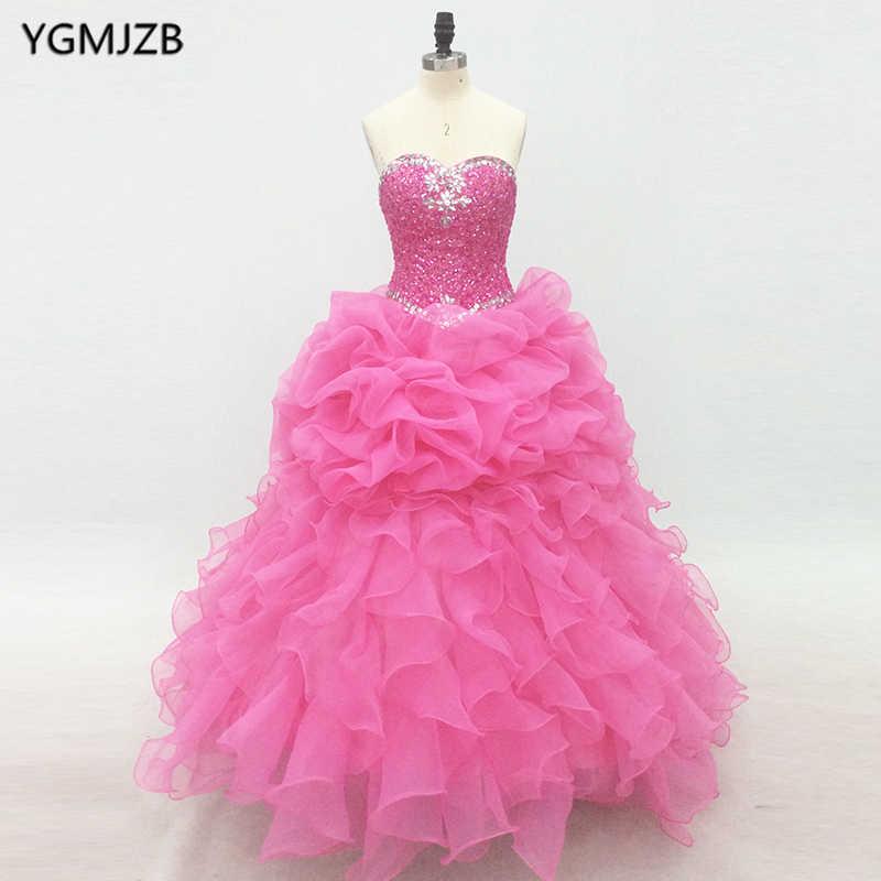 Розовые платья Quinceanera длинные 2019 Пышное Бальное Платье Полный бисера Кристалл Милая Vestido дебютантка Сладкие 16 Vestidos De 15 Anos
