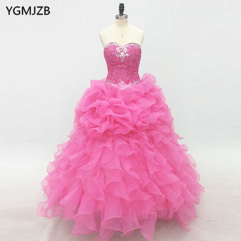 Rosa Quinceanera Vestidos Longos 2019 Puffy Vestido De Baile Completa Frisada de Cristal do Querido Vestido Vestidos De 15 Años Debutante Doce 16