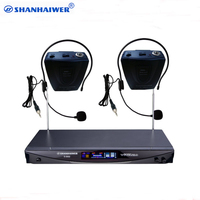 VHF dual channel headphones wireless microphone Receiver with LCD display 2 waist hanged Lavalier Lapel Hands Free Microphone