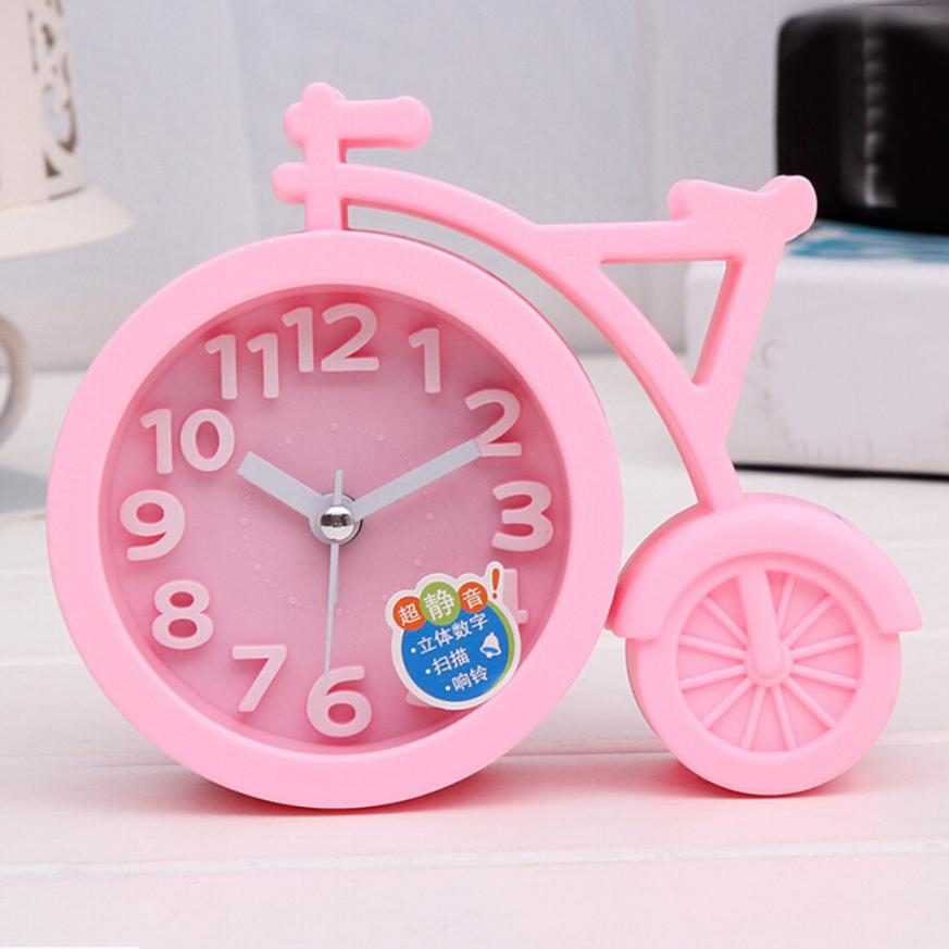 2018 Alarm Clock Creative Cartoon Mute Bike Student Gifts Alarm Clocks Fashion Home Decor Clock Portable Clock Alarm JA4