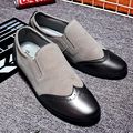 Autumn Fashion Carving Male Round Toe Slip On Style Casual Flats Shoes Soft Comfortable Cow Suede Flat Heel Oxford Shoes