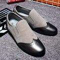 Otoño de Moda Resbalón En Estilo Talla Masculina Punta Redonda Planos Ocasionales Zapatos Cómodos Suaves de Ante de la Vaca Talón Plano Zapatos Oxford
