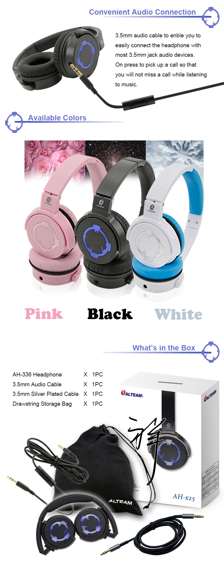 2016 New Foldable Portable Wired Detachable Audio Cable Stereo Deep Bass Music On Ear Headphones with Microphone for ios android