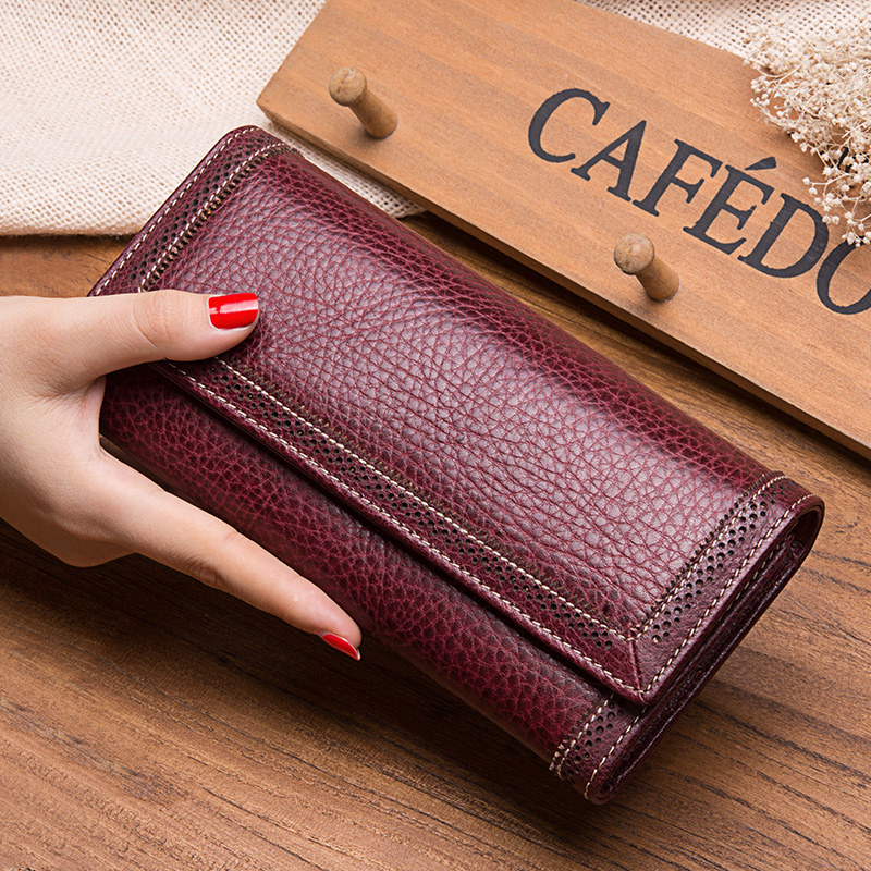 100% Genuine Luxury Authentic Cow Leather Women Wallets Hasp Close Clutch fashion vintage style Solid Long women Purses