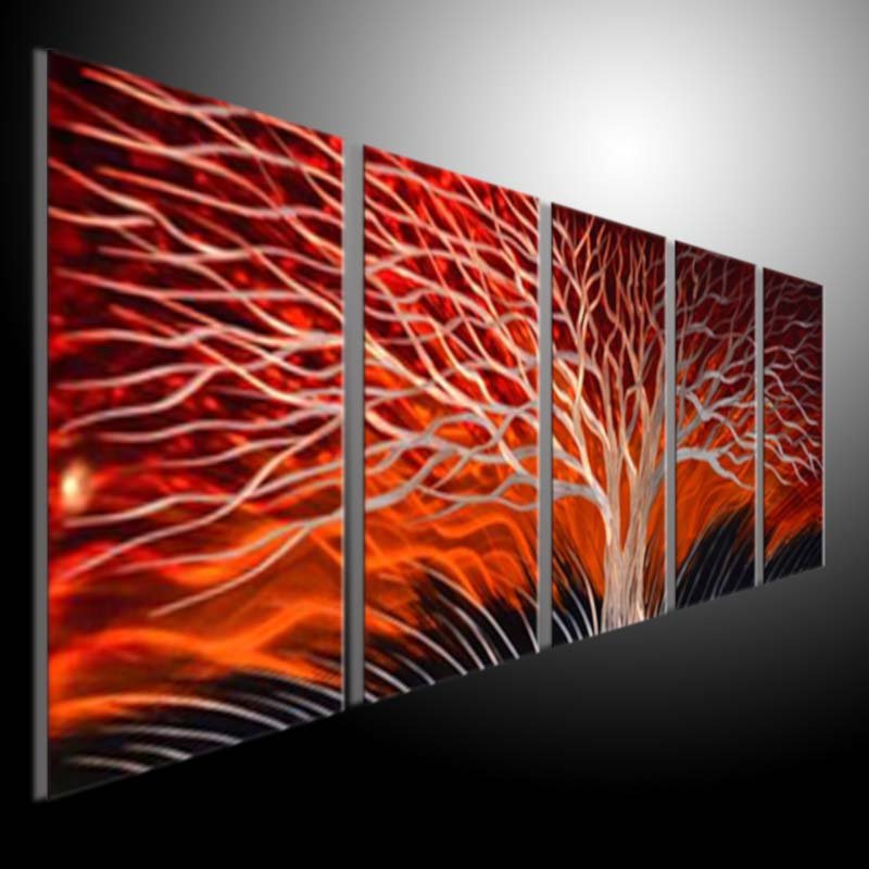 Metal Sculpture Wall Red Tree, METAL PAINTING original abstract ...