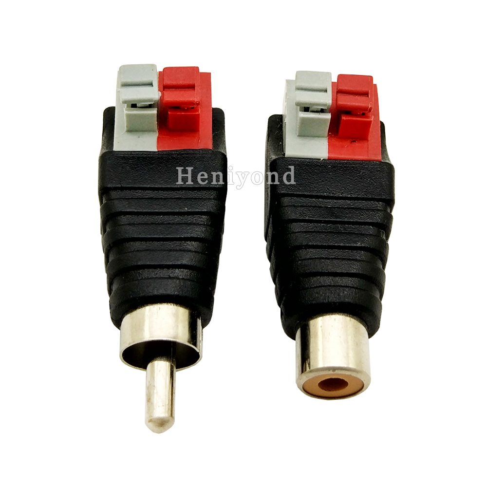 10Pairs Phono RCA Male And Female Plug TO AV No Screw With Push Fastening Type Terminal Jack Video AV Balun Connector