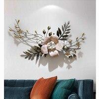 현대 벽 단 철 3D 시뮬레이션 꽃 식물 벽 벽화 공예 장식 홈 현관 벽 장식 미술 R1274