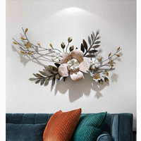 Modern Wall Wrought Iron 3D Simulation Flowers Plant Wall Mural Crafts Decoration Home Porch Wall Hanging Ornament Art R1274