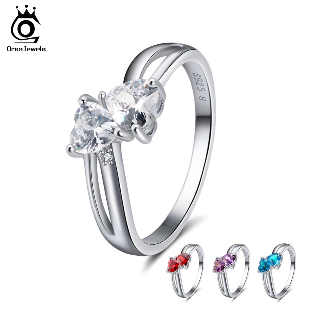 где купить ORSA JEWELS Genuine 925 Sterling Silver Women Rings 4 Colors AAA Cubic Zircon Prong Setting Female Party Fashion Jewelry SR58 по лучшей цене