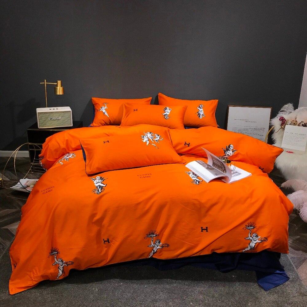 綿 100% orange 寝具セット 4 ピースキューピッド Hd デジタルプリント布団カバーセット 60 s サテンベッドリネンダブルシート  グループ上の ホーム&ガーデン からの 寝具セット の中 1