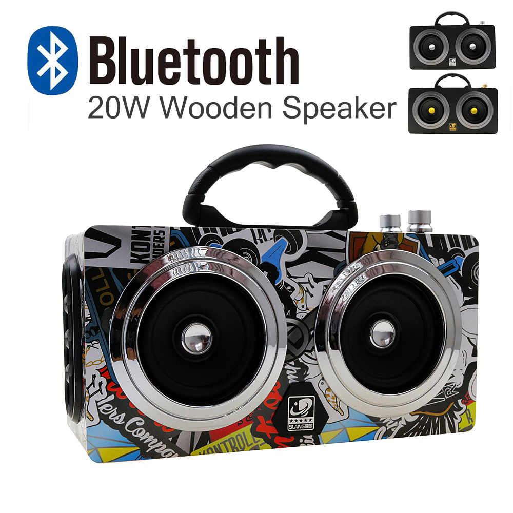 20W Portable Wooden High Power Bluetooth Speaker Dancing Loudspeaker Wireless Stereo Super Bass Boombox Radio Receiver Subwoofer ttlife mini portable touch button bluetooth speaker support fm radio nfc tfcard wireless super bass loudspeaker