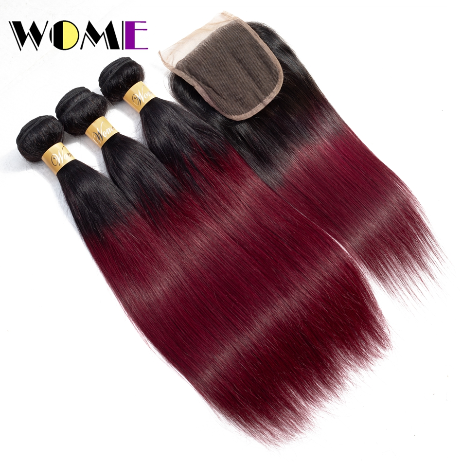 Wome 1B/99j Peruvian Straight Hair Weave 3 Bundles with Closure Free Part Red Hair Bundl ...