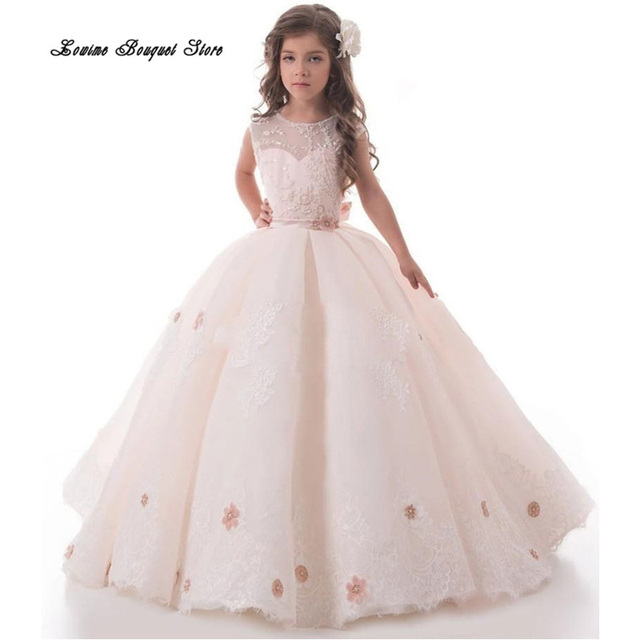 Elegant Ball Gown Floor Length Appliques Lace Flower Girls Dresses ...