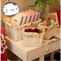 3pcs/set Decorative White Wicker Storage Baskets Cosmetic Storage Box For Books Crafts Tins Furnishing Desktop Organizer