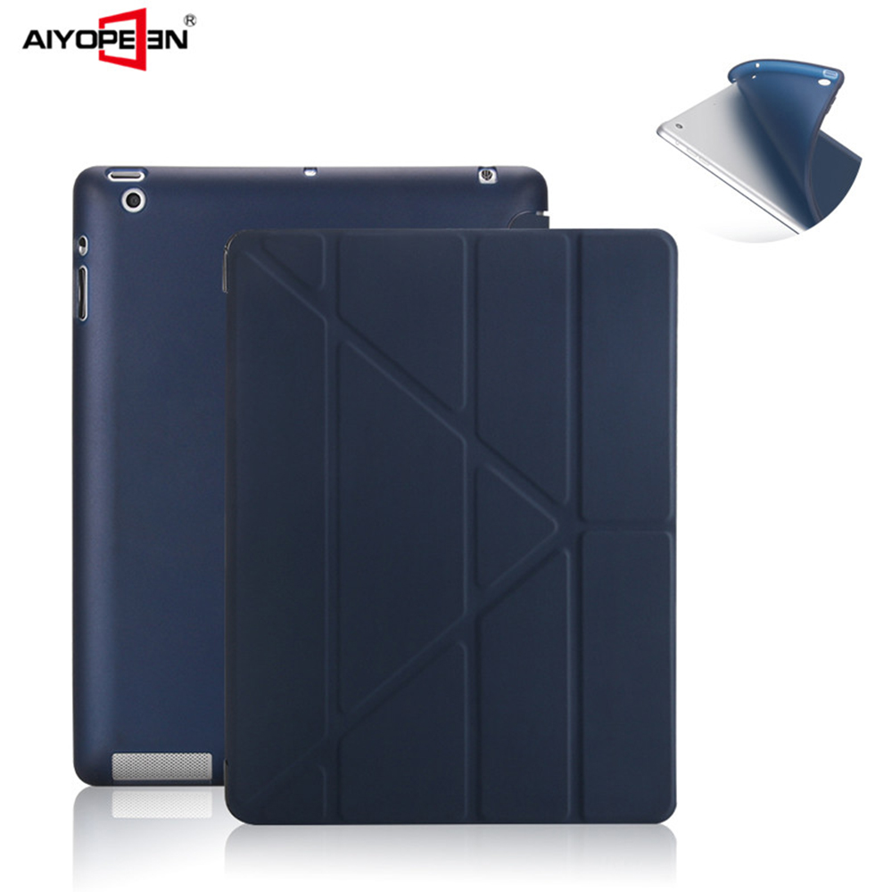For ipad 2 3 4 case, smart wake up sleep soft protect magnetic multi-fold pu leather Tpu back cover for apple ipad 4 3 2 case юбка befree befree be031ewuxr91