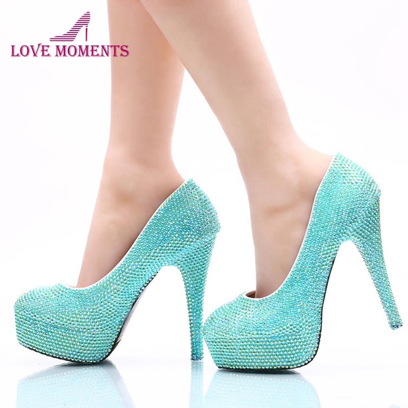 2018 New designer Sparking Blue AB Crystal Bridal Dress Shoes Performance Dancing High Heel Shoes Stiletto Heel Wedding Party