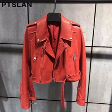 Ptslan Belt Women Spring Jacket Punk Style Short Real Leather Coat Genuine Leather  Jacket Women Female
