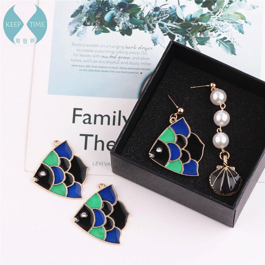 Diy jewelry accessories alloy diamond-encrusted big fish crabapple earrings earrings material bracelet necklace pendant pendant