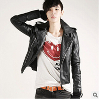 Free Shipping 2014 Spring New Korean Explosion Models Lapel Short Paragraph Slim PU Leather Motorcycle Jacket