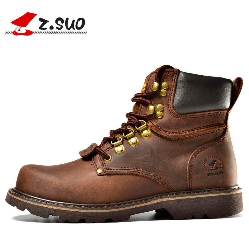 Z Suo Genuine Leather Winter Men Boots Military Top Quality Winter Boots 2018 New Safety Shoes