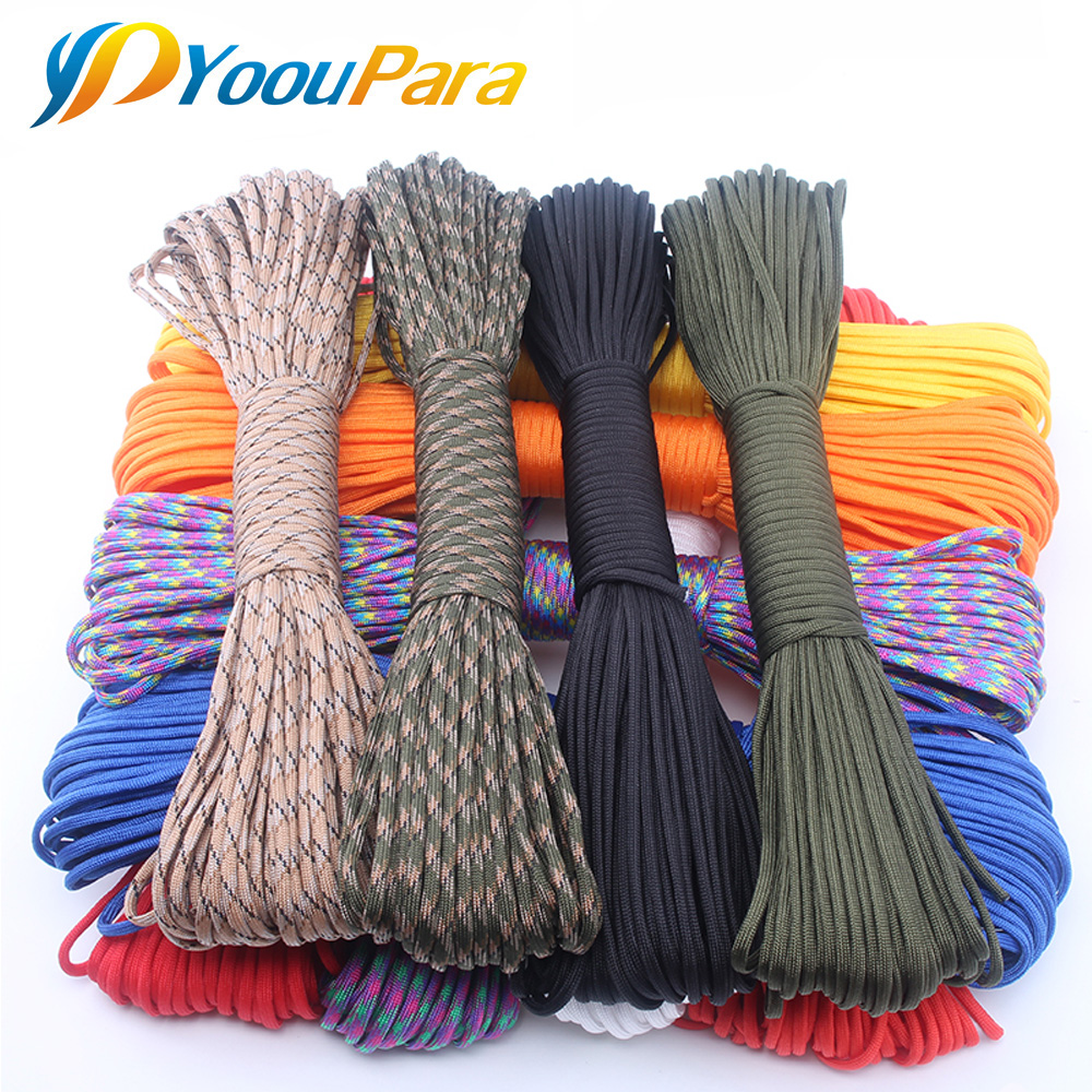 YoouPara 250 Colors Paracord 550 Rope Type III 7 Stand 100FT 50FT Paracord Parachute Cord Rope Survival kit Wholesale hot sale 10ft reflective 550 paracord rope type iii 7 strand light reflecting for survival parachute cord bracelets paracord