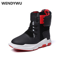 WENDYWU autumn winter boys running sneakers for children high top sneakers kids pu leather shoes baby girls black sneakers