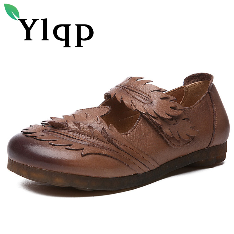 Ylqp Genuine Leather Women Shoes Art Retro Handmade Shoes 2018 Autumn Cowhide Leather Soft Soles Flat Heels Comfortable Sneakers