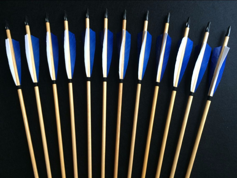 12PK handemade traditional blue white feathers wooden arrows for Archery longbow hunting lovers