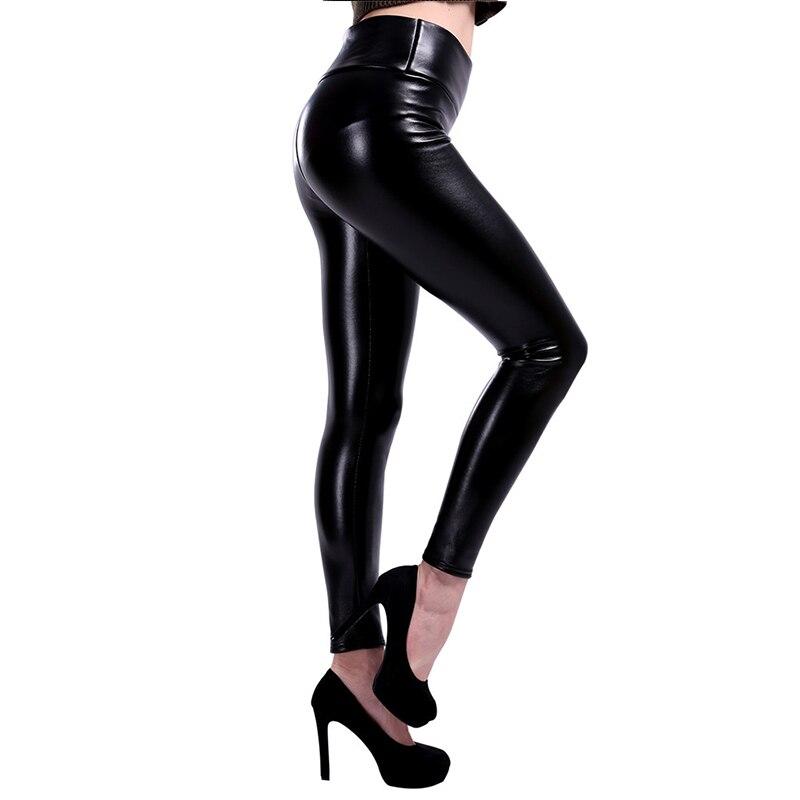 NORMOV Women Plus Size Leather Leggings  High Waist Leggings Stretch Slim Black Legging Fashion PU Leather Pants Women S-5XL