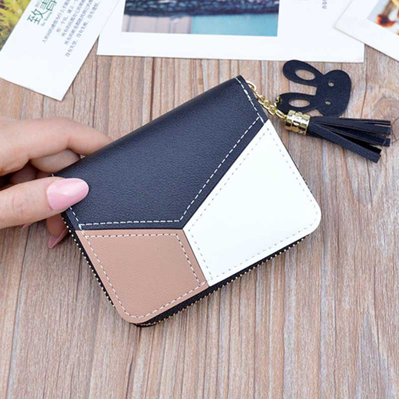 New Leather Wallet Women Short Zipper Ladies Purse Money Bag Coin Pocket Patchwork Cute Women Wallets Clutch Card Holder W055