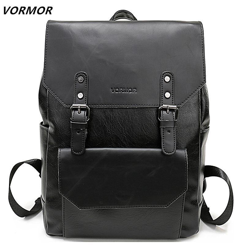 Charitable Vormor Simple Large Capacity Leather Backpack For Travel Office Men Backpack Fashion School Bag Mochila Black/brown/coffee Good For Energy And The Spleen Backpacks