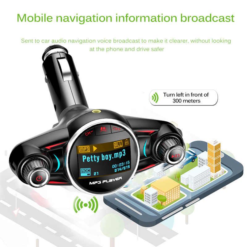 جهاز إرسال إف إم يعمل بالبلوتوث من JINSERTA أداة إيقاف تشغيل السيارة مع مهايئ إف إم طقم يدوي للسيارات مع منفذ USB وaux ومشغل MP3 شاحن USB للهاتف