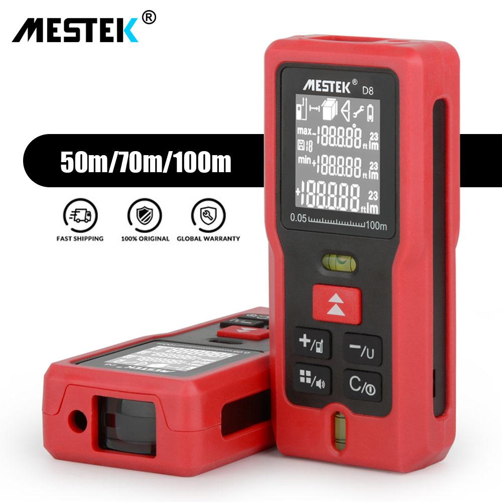 MESTEK 50 m. 70 m 100 m láser metro de distancia del telémetro Medidor Trena nivel láser cinta medida láser gobernante rango de Finder