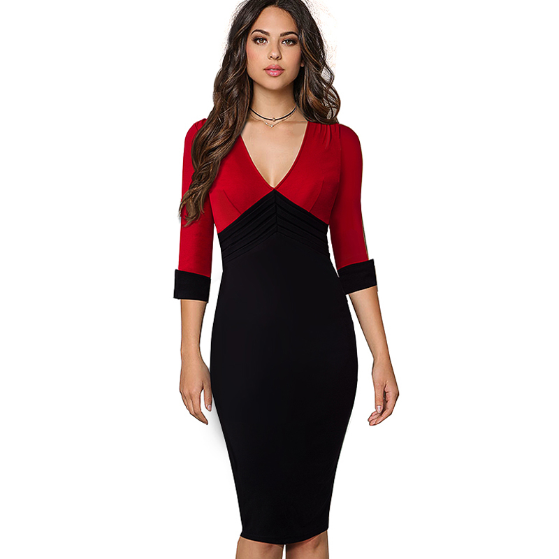 Women Elegant V Neck Colorblock Contrasting Casual Work Business Office Drapped Fitted Bodycon Pencil Dress EB357
