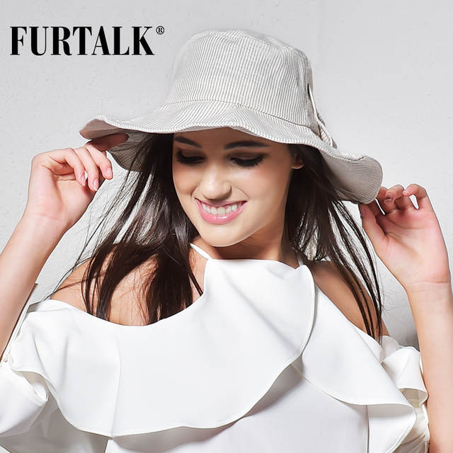 FURTALK Summer Sun Hats for Women Fashion Design Women Beach Cotton Hat  Foldable Brimmed Bucket Hat 40c8f0e3803b