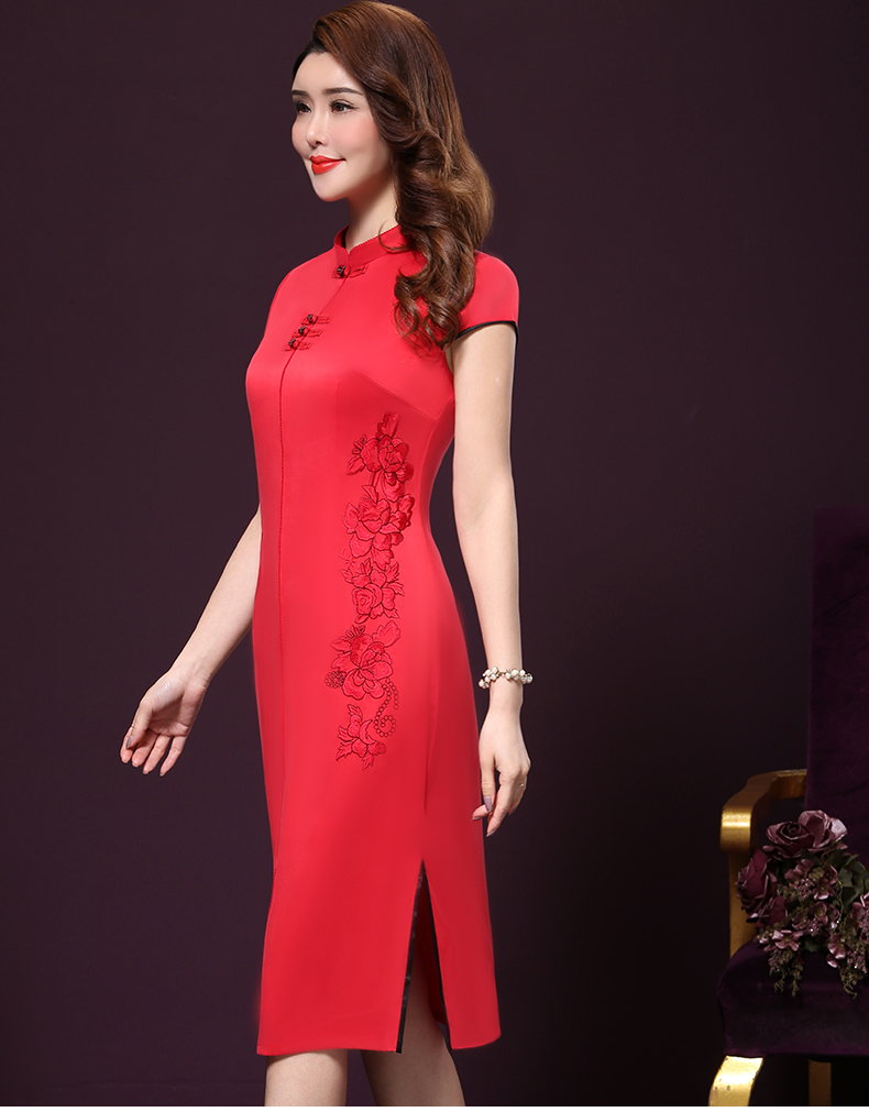 Plus size 4XL Chinese Style High-End Silk Vintage Embroidered Summer Dress Women Collar Short-Sleeve One-Step Dress female P168 17
