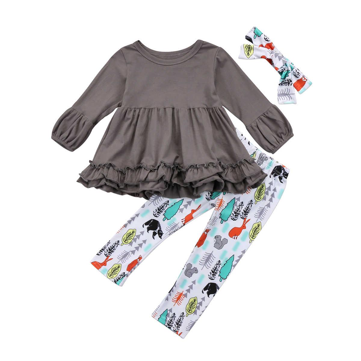 Pudcoco 2018 3 шт. Детские наряды для девочек серый туника топ платье принт Брюки для девочек Леггинсы для женщин повязка на голову Одежда для девочек на Новый Год
