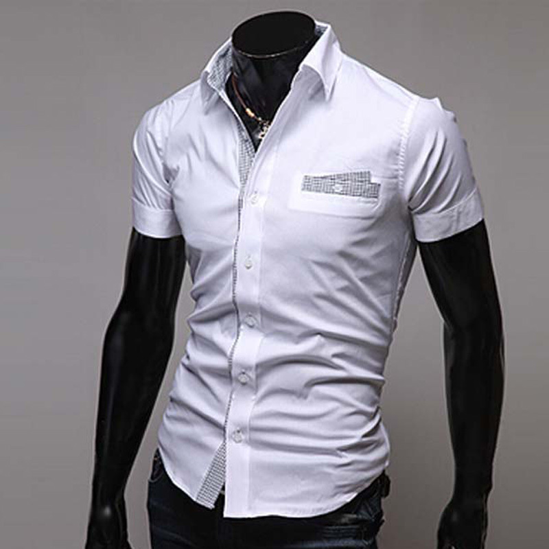 2015 Fashion Spell Color Men Shirt Short Sleeve White/Black Shirt ...