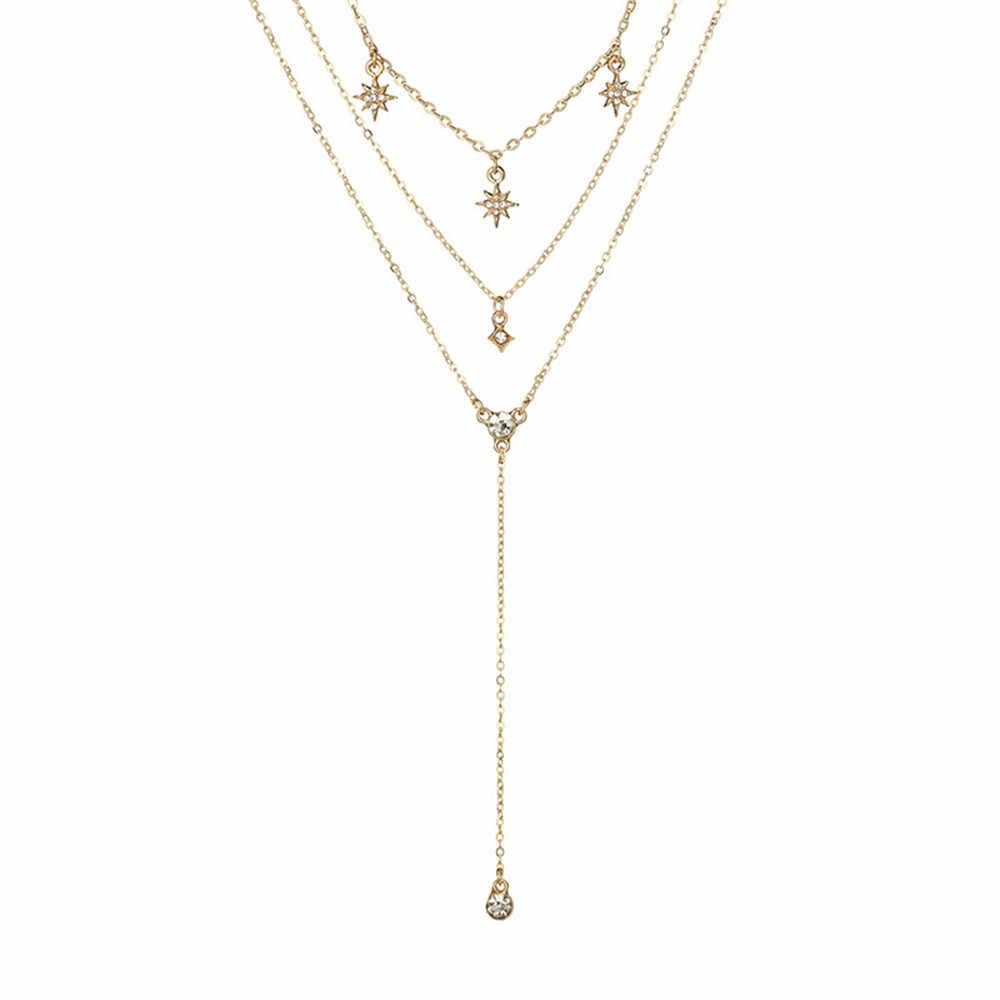 Moda kobiety naszyjnik wielowarstwowy Choker wisiorek do obroży naszyjnik łańcuch biżuteria piękne Pendientes Choker fascynujące moment obrotowy