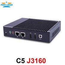 Partaker Quad Core J3160 Fanless Mini PC Windows 7 8 10 Dual LAN NICS WIFI PFsense As Router Firewall Server Micro Computer