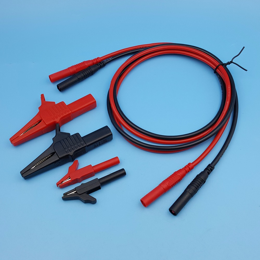 1Pair 4mm Silicone Straight Insulated Male Banana Cable Connector + 4Pcs Test Alligator Clip 1pair double end 4mm male banana plug soft silicone test cable connector multimeter test lead red blcak