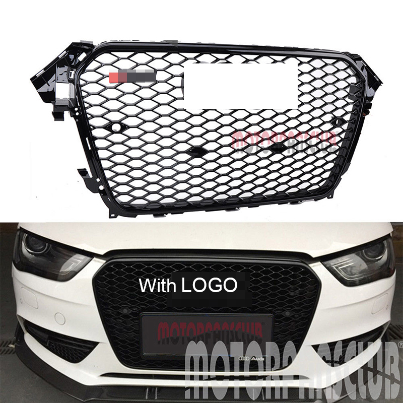 цена 1Pc Car Racing Grille For Audi A4 B8.5 Grill 2013-2015 S4 Style Logo Full Black Radiator Trim Front Bumper Modify Mesh Honeycomb