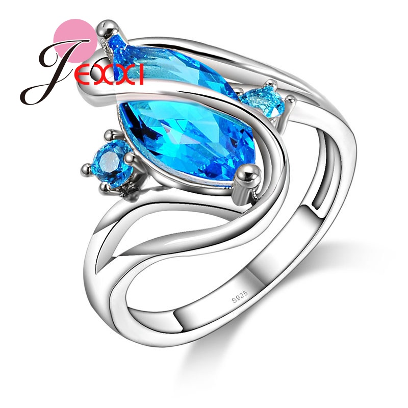 JEXXI Fashion Women Special Hollow Blue Crystal Ring 925 Sterling Silver Classic Cubic Zirconia Wedding Jewelry Free Shipping