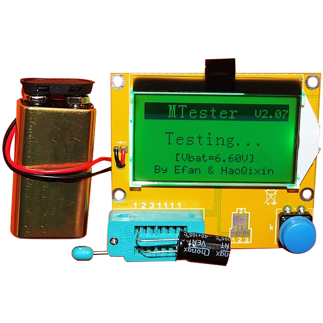 LCR-T4 LCD ดิจิตอลทรานซิสเตอร์ Tester Meter Backlight Diode Triode  Capacitance ESR Meter สำหรับ MOSFET