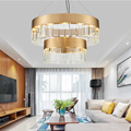 Luxe Moderne Plaat Goud Metaal Glas Led Hanglampen Woonkamer Lustre Led Hanglamp Verstelbare Hang Opschorten Licht