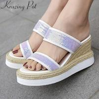 Krazing pot colorful sequined cloth cow leather slip on mules women sandals straw super high heels increased gladiator shoes L01