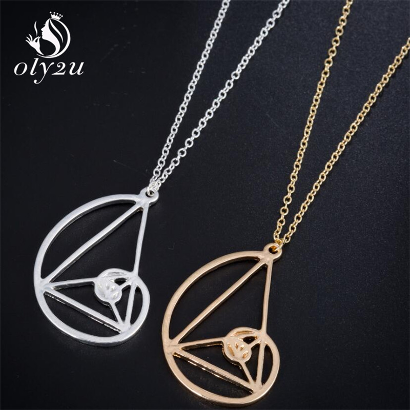 Oly2u Spiral with Triangle Necklace <font><b>Fibonacci</b></font> <font><b>Pendant</b></font> Ratio Psychology Necklace Science Biology Jewelry for girls women image